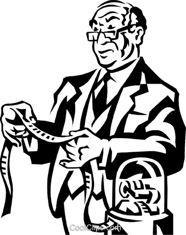 businessman looking at the stock ticker Royalty Free Vector Clip Art illustration vc060319