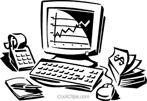 stock market on his computer screen Royalty Free Vector Clip Art illustration vc060325