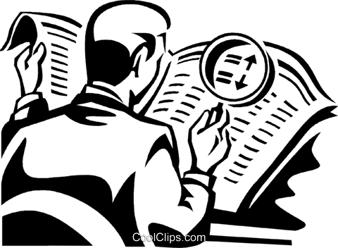 man looking at newspaper Royalty Free Vector Clip Art illustration vc060330