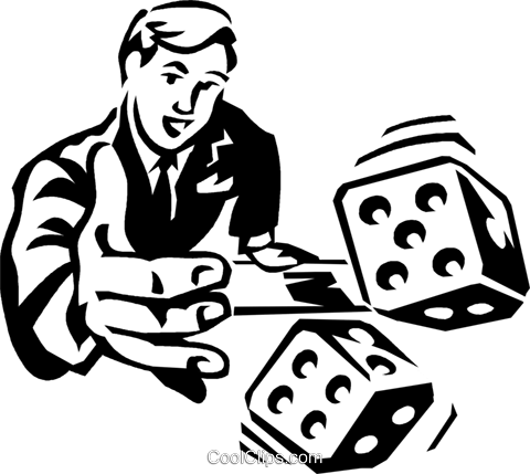 man rolling the dice Royalty Free Vector Clip Art illustration vc060331
