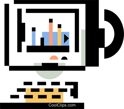 desktop computer Royalty Free Vector Clip Art illustration vc060355