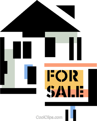 House for sale Royalty Free Vector Clip Art illustration vc060357