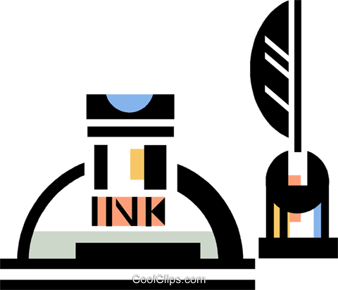 ink bottle with quill pen Royalty Free Vector Clip Art illustration vc060390