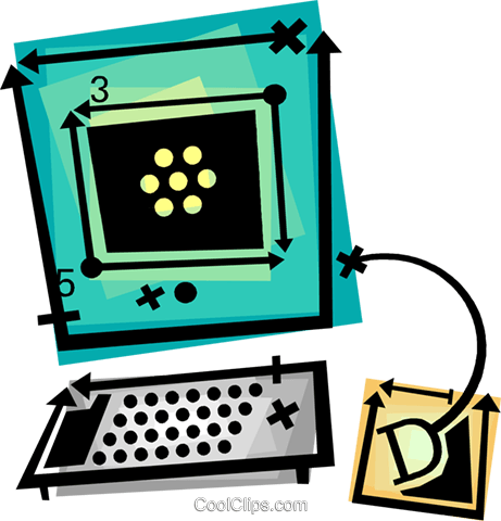 computer desktop system Royalty Free Vector Clip Art illustration vc060421