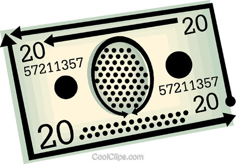 twenty dollar bill Royalty Free Vector Clip Art illustration vc060443
