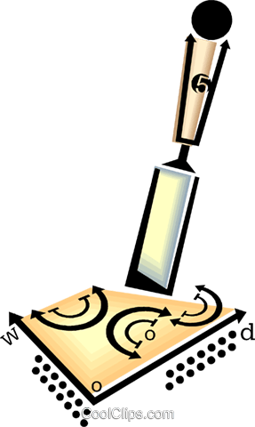 chisel and wood Royalty Free Vector Clip Art illustration vc060464