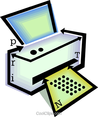 computer printer Royalty Free Vector Clip Art illustration vc060485