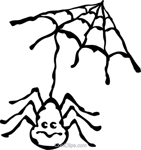 spider and web Royalty Free Vector Clip Art illustration vc060950