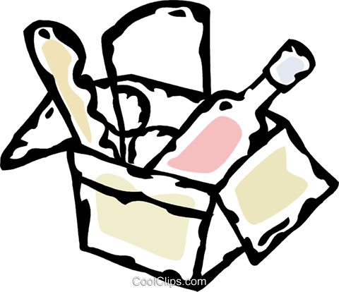 box of groceries Royalty Free Vector Clip Art illustration vc061047