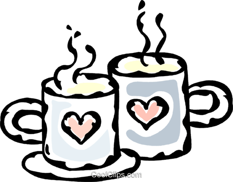coffee cups with hearts Royalty Free Vector Clip Art illustration vc061204