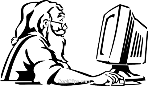 Santa working at a computer Royalty Free Vector Clip Art illustration vc061296