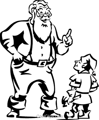 Santa giving instructions to his elf Royalty Free Vector Clip Art illustration vc061297