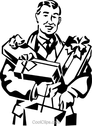 man with his arms full of Christmas gifts Royalty Free Vector Clip Art illustration vc061301