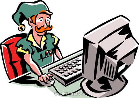 Elf working at a computer Royalty Free Vector Clip Art illustration vc061303