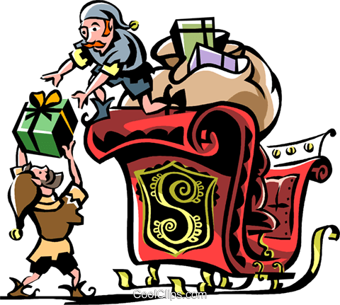 Elves packing the sleigh Royalty Free Vector Clip Art illustration vc061305