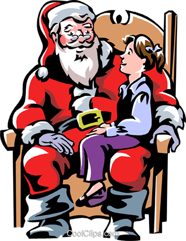 child sitting on Santa's lap Royalty Free Vector Clip Art illustration vc061307