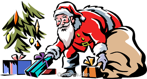 Santa putting presents under the tree Royalty Free Vector Clip Art illustration vc061308