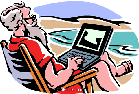 Santa working on a laptop by the beach Royalty Free Vector Clip Art illustration vc061309