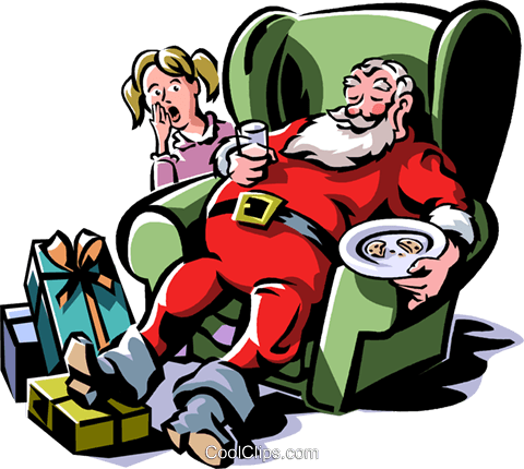 Santa sleeping in a chair Royalty Free Vector Clip Art illustration vc061320