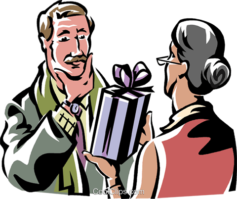 woman giving a man a present Royalty Free Vector Clip Art illustration vc061327