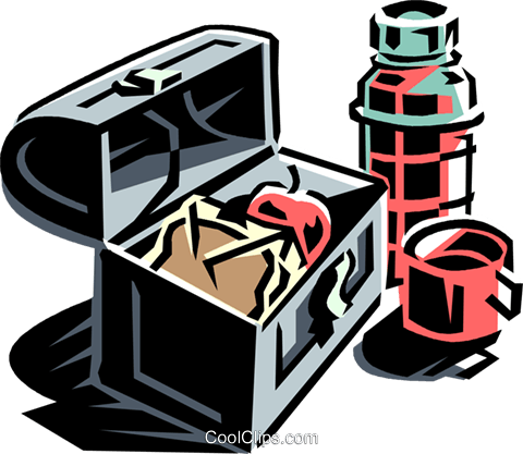 lunch box with thermos Royalty Free Vector Clip Art illustration vc061331
