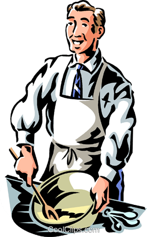 businessman cooking Royalty Free Vector Clip Art illustration vc061332