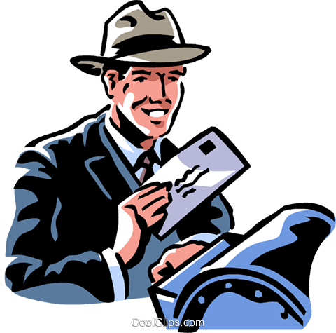 man mailing a letter Royalty Free Vector Clip Art illustration vc061335