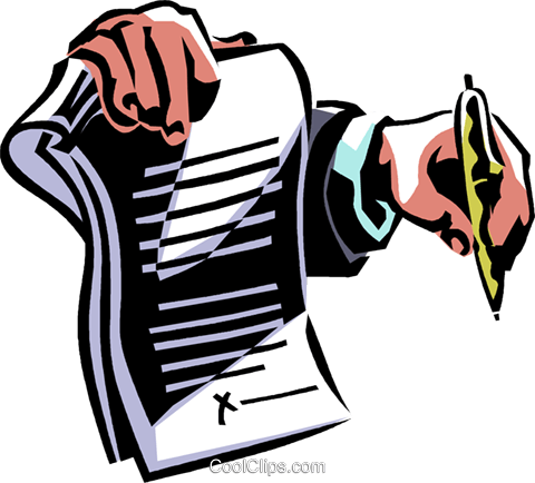 contract ready to be signed Royalty Free Vector Clip Art illustration vc061336