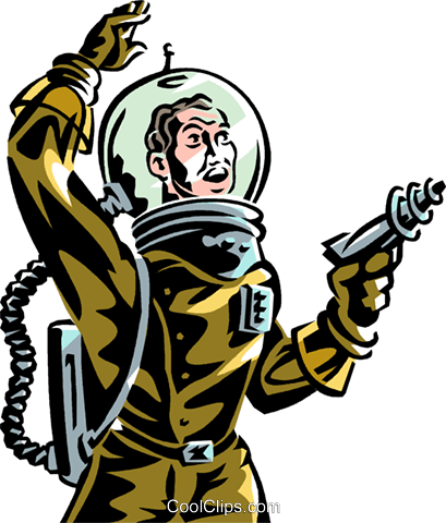 astronaut with ray gun science fiction royalty free vector clip art rh search coolclips com  science fiction genre clipart