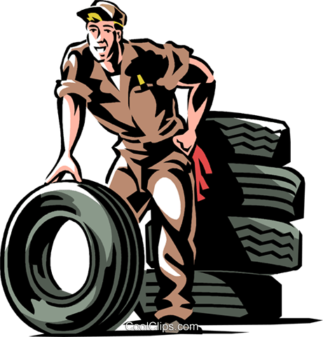 Auto mechanic with tires Royalty Free Vector Clip Art illustration vc061340