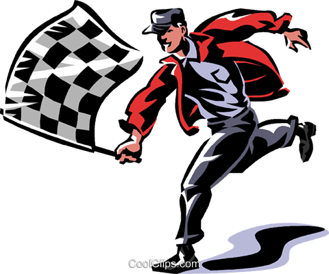 man with a checkered flag Royalty Free Vector Clip Art illustration vc061344