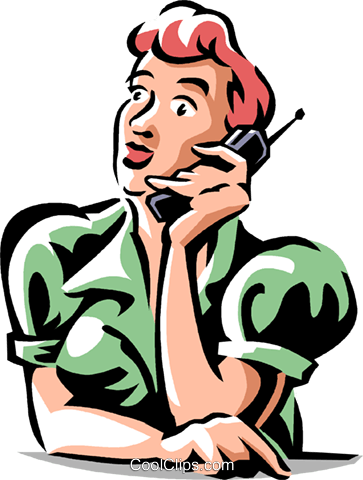 woman talking on the phone Royalty Free Vector Clip Art illustration vc061349