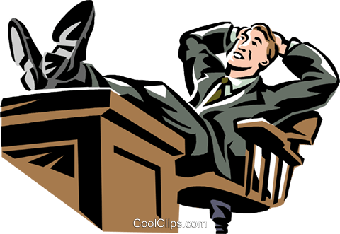 businessman relaxing at his desk Royalty Free Vector Clip Art illustration vc061352