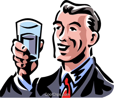 man holding a glass Royalty Free Vector Clip Art illustration vc061355