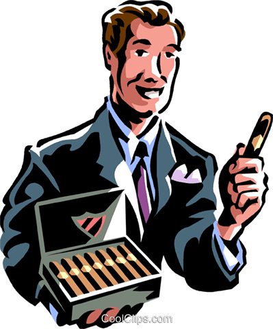 man offering a cigar Royalty Free Vector Clip Art illustration vc061356