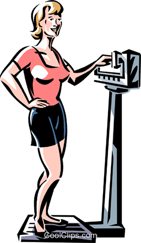 woman standing on a scale Royalty Free Vector Clip Art illustration vc061358