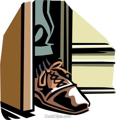foot in the door Royalty Free Vector Clip Art illustration vc061359