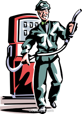 service station employee Royalty Free Vector Clip Art illustration vc061363