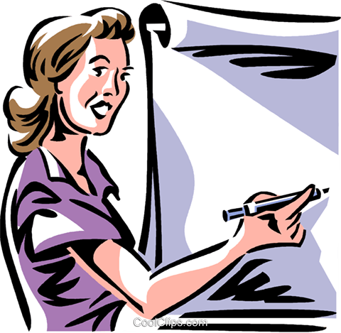 woman/teacher writing on a easel Royalty Free Vector Clip Art illustration vc061367