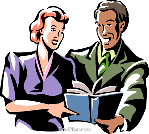 man and woman reading a book Royalty Free Vector Clip Art illustration vc061370