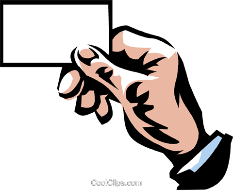 hand holding a business card Royalty Free Vector Clip Art illustration vc061373