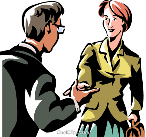 two people greeting Royalty Free Vector Clip Art illustration vc061374