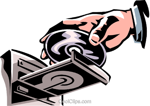 putting a Rom-rom into a Rom-rom player Royalty Free Vector Clip Art illustration vc061375