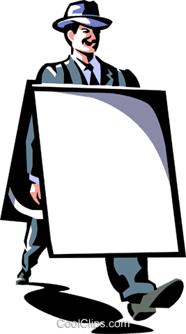 man with an advertising board Royalty Free Vector Clip Art illustration vc061383