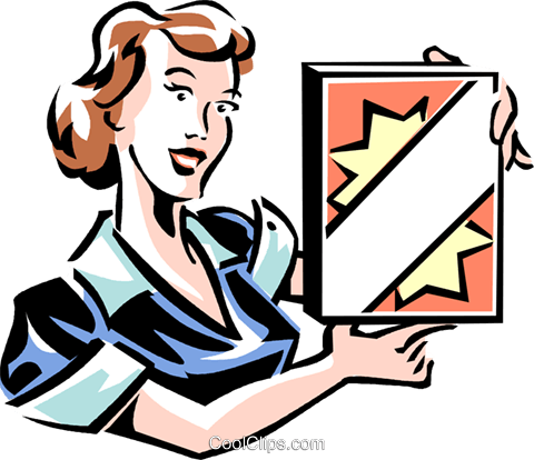 woman with a box of laundry soap Royalty Free Vector Clip Art illustration vc061386