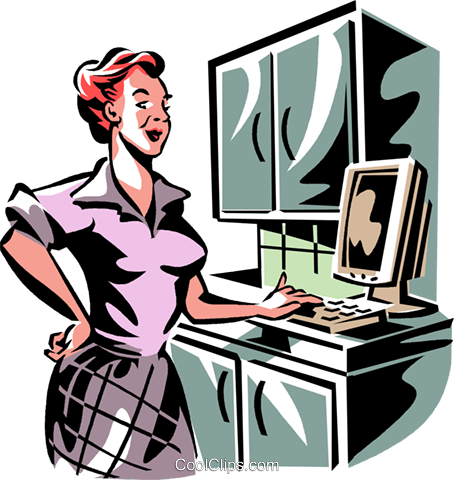 woman working on a computer Royalty Free Vector Clip Art illustration vc061387