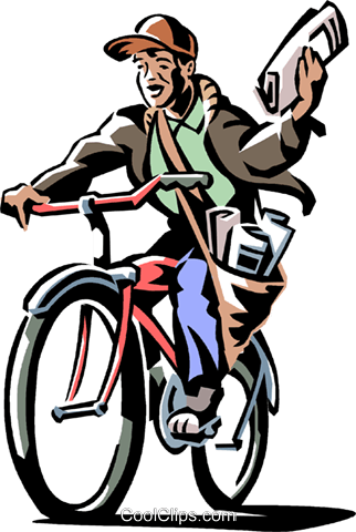 boy delivering a newspaper on his bike Royalty Free Vector Clip Art illustration vc061388