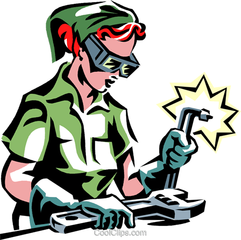 woman welding Royalty Free Vector Clip Art illustration vc061389