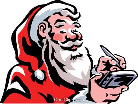 Santa adding information to his day timer Royalty Free Vector Clip Art illustration vc061394