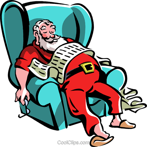 Santa asleep in his chair Royalty Free Vector Clip Art illustration vc061395
